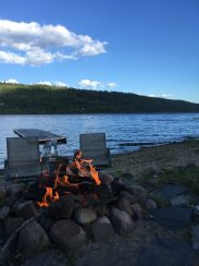 Fire by the lakeside. We made tin foil dinners one night.